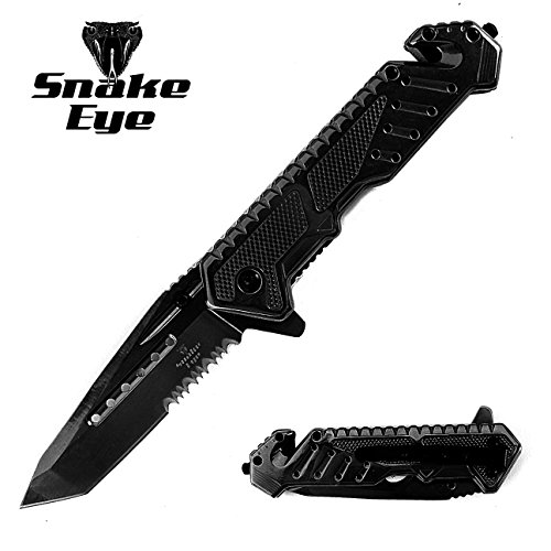 - Snake Eye Tactical Heavy Duty Mirror Finish Rescue Style Assisted Open Folding Pocket Knife Outdoors Hunting Camping Fishing (Black)