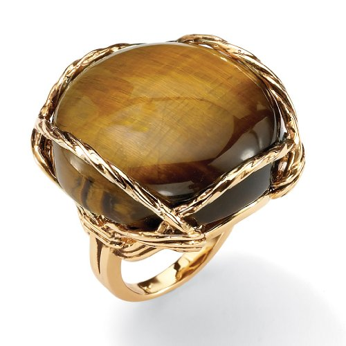 Genuine Tiger's Eye 14k Gold-Plated Cabochon Pillow Ring Size 8 (Cabochon Tigers Eye)