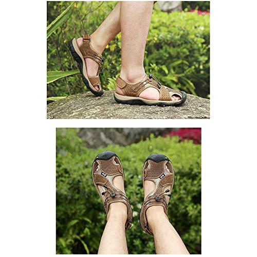 sandali estive sandali regolabili pelle Sandali ciabattine in traspiranti da traspiranti Brown uomo qwx1ATI