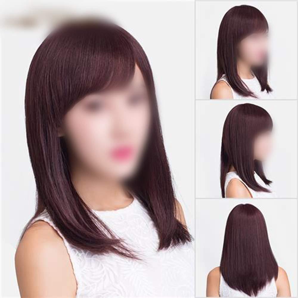 Yrattary ダークブラウンロングストレートふわふわナチュラルロングリアルウィッグ女性のための合成髪レースかつらロールプレイングウィッグロングとショートの女性自然 (色 : Natural black) B07S9PN58S Natural black