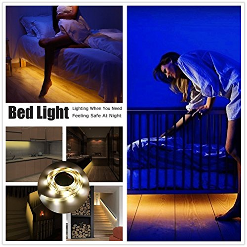 Motion Activated Under Bed Light, AINATU Sensor Night Light for Bedroom, Light Flexible LED Strip Motion Sensor Timer Bedside Light Strip with Automatic On/Off Timer( Warm Soft Glow)