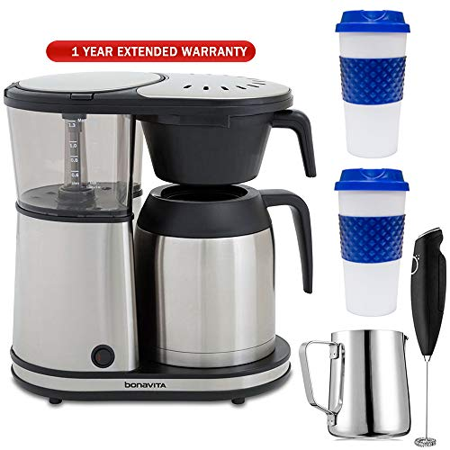 Bonavita Connoisseur 8-Cup One-Touch Coffee Brewer Feat. Hanging Filter Basket (BV1901TS) with Extended Warranty, 2X Reusable Mug, Milk Frothing Pitcher & Milk Frother Handheld Electric Foam Maker