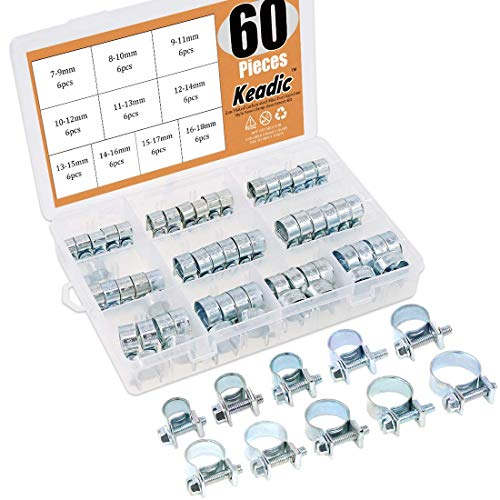 (Keadic 60Pcs 10 Sizes Adjustable Zinc Plated Carbon steel Mini Fuel Injection Style Hose Clamp Assortment Kit for Various Diesel Petrol Pipe)