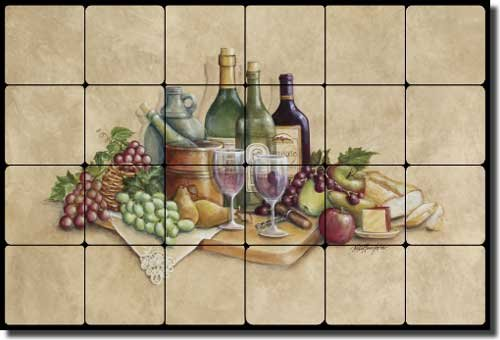 - Wine Time by Rita Broughton - Wine Grape Tumbled Marble Tile Mural Backsplash 24