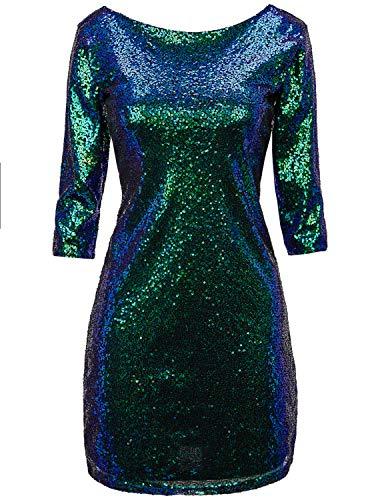 Evening Mini Dress Club Cocktail (Regna X Women Sexy Deep V Neck Sequin Glitter Evening Mini Party Dress Green S)