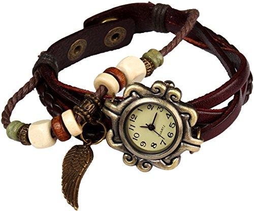 Women Handmade Watches Weave Wrap Leather Bracelet Wristwatch White - 9