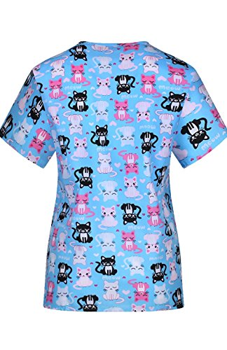 MedPro Women's Medical Scrub Set Cat Print Wrap Top and Cargo Pants Blue Pink XL by MedPro (Image #3)