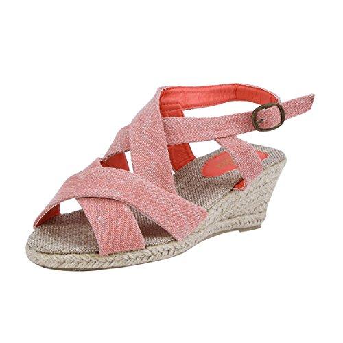 Damara Damen Hoher Keilabsatz Canvas Strand Sandalen Pink