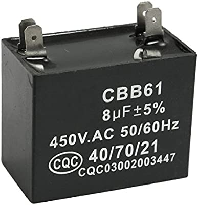 TOOGOO(R) CBB61 8uF 450V AC 50/60Hz Condensador de funcionamiento ...