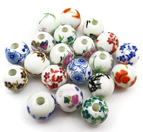 Porcelain Bead Earrings (ALL in ONE 20pcs Round Exquisite Oblate Ceramic Porcelain Flower Decal Spacer Beads Traditional Chinese Style(mix 10mm))