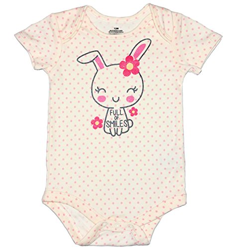 (Topsville, Inc. Assorted Bunny, Egg, Chick Boys' & Girls' Easter Bodysuit Dress up Outfit (Newborn, Full of Smiles - Bunny) )
