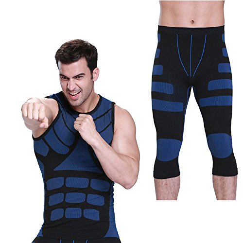 FitnessSun - Mens Quick Dry Tights Undershirt - Compression Base layer - Body Shaper Sports Muscle Tank (Marty Mcfly Outfit)