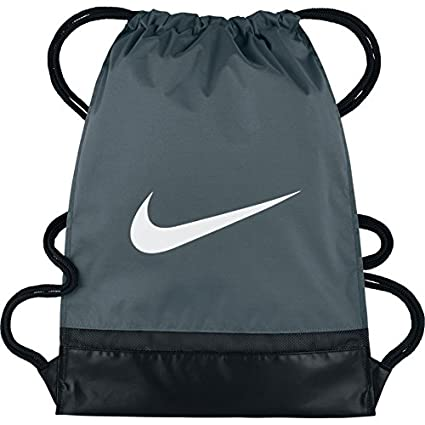 Amazon.com  NIKE Brasilia Gymsack, Flint Grey Black White, One Size ... 7b4bd90934
