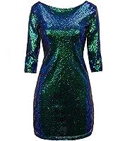 Regna X Women Sexy Deep V Neck Sequin Glitter...
