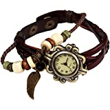 Bohemian Style [Retro] Handmade Leather [Angel Wing] Wrist Watch. Beautiful, Fashionable [Luxury] & Stylish [Weave Around] Wrap Watch Bracelet For Women, Ladies, Girls- Brown