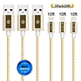 iPhone Cable SGIN 3-PACK 10FT Nylon Braided Lightning to USB Cable - Syncing for Apple iPhone 7, 7 Plus, 6s, 6s+, 6, SE, 5s, 5c, 5, iPad, iPod (Gold)