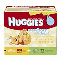 Huggies Little Snugglers Newborn Diapers and Gentle Wipes Kit - 108 newborn diapers & 32 baby wipes