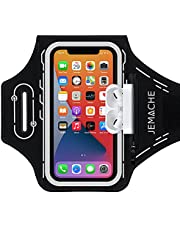 JEMACHE Running Armband for iPhone 12 Pro Max, 11 Pro Max, Xs Max, 12, 12 Pro, 11, XR, Gym Workouts Water Resistant Cell Phone Arm Band with Airpods Pro Holder (Black)