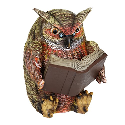 Exhart Owl Reading Book Statue, Solar Powered, Resin, Weather Resistant, Indoors & Outdoors, 7