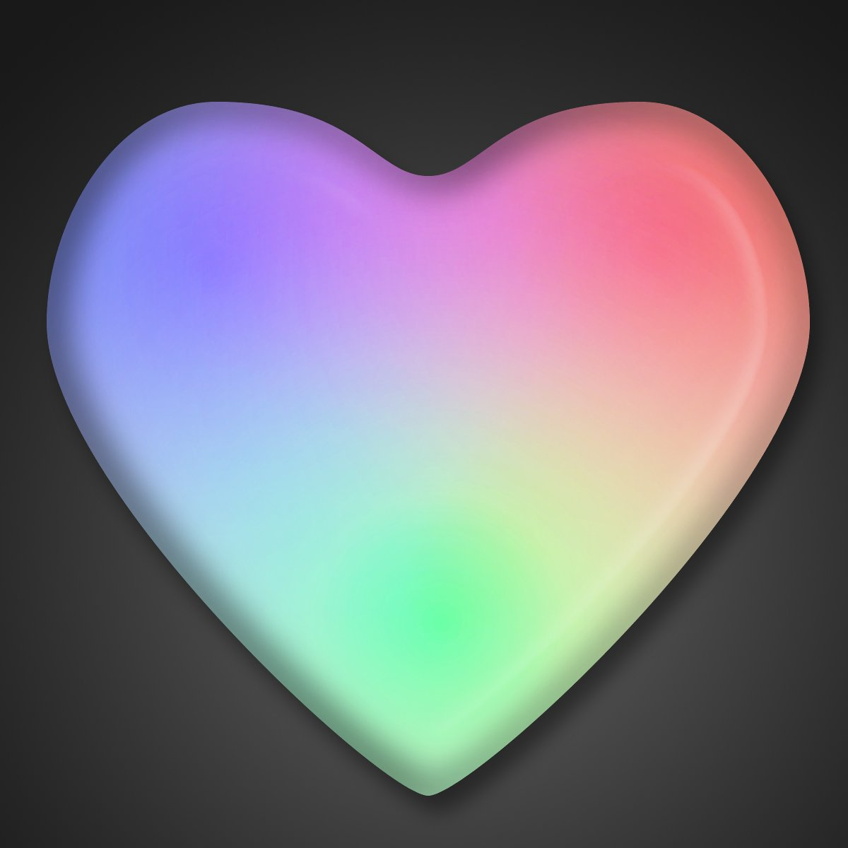 Aurora Color Changing LED Heart Light Up Body Lights Lapel Pins (25-Pack)