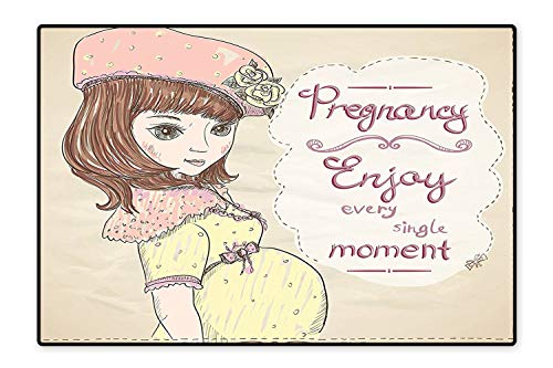 Area Rug for Kid Pregnancy Enjoy Every Single Moment Clipart Pregnant Woman Dress Hat Easy Clean Stain Fade Resistant 6'x7'