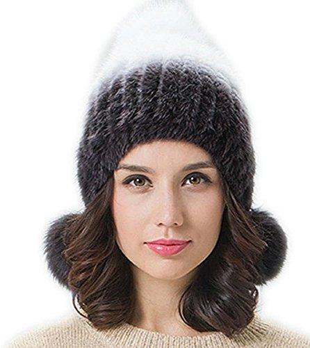 FURTALk Winter Damen aus Hochen Qualität Nerzpelz Material mit 3 Pompom Ball Pelzmütze Strickmütze Wintermütze
