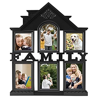 MCS Industries 6 Openings Family Collage Frame, 4 of 4 by 6  and 2 of 4 by 4 , Black