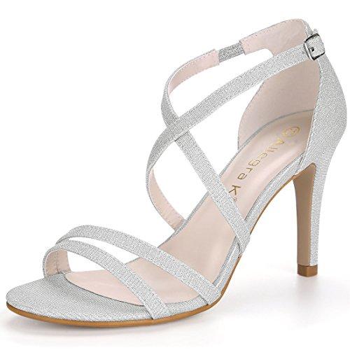 Silver Strappy Heels (Allegra K Women's Glitter Stiletto Heel Strappy Sandals (Size US 9) Silver)