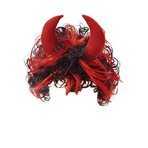 Red & Black Devil Wig ~ Halloween Devil Costume Accessories (Horns Costume Wig)