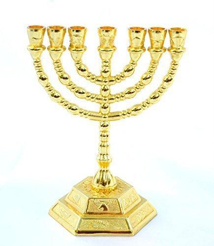 - holyland souvenir Decorative Menorah, Menora 7 Branch Jewish Israel Holy Land Jerusalem.12 Tribes Design-Gold Color 5