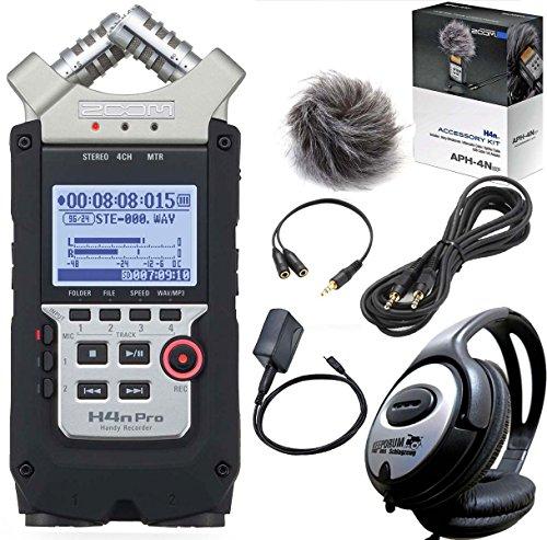 ZOOM H4n PRO Handy Recorder + APH-4nSP Zubehör Set + KEEPDRUM Kopfhörer