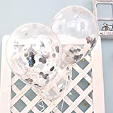 Arts & Crafts : FindFun 12'' Clear Balloons Prefilled with 2.5cm Silver Confetti for Wedding Birthday Grad Party Decorations (Pack of 12)