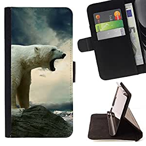 For Samsung Galaxy S3 III I9300 Polar Bear Roar Sea Ocean Cliff Arctic Sky Beautiful Print Wallet Leather Case Cover With Credit Card Slots And Stand Function