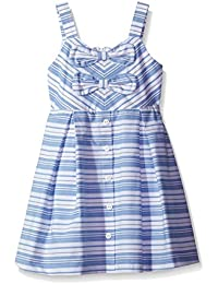 Little Girls' Striped Woven Dress With Button and Bow Details