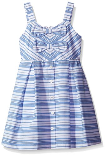 Rare Editions Girls' Little Striped Woven Dress W/Button & Bow Details, Blue/White 6X