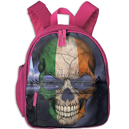 Dream-R School Backpack Irish Flag Skull Children Printed Oxford Fabric Backpack With Front Pockets Pink