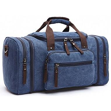 Kenox Oversized Canvas Travel Tote Luggage Weekend Duffel Bag (Blue)
