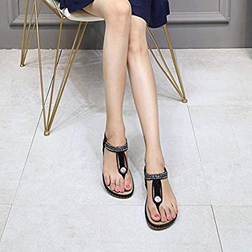 Sandals Flat Rhinestone Strappy Women Flip Black Bohemia Flops Thongs Braid Strap Glitter T Gladiator Sparkle qvaCTYt