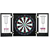 Hathaway Winchester Dartboard Cabinet with Sisal Fiber for Steel Tip Darts - Black Finish