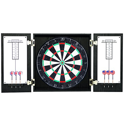 - Hathaway Winchester Dartboard Cabinet with Sisal Fiber for Steel Tip Darts - Black Finish