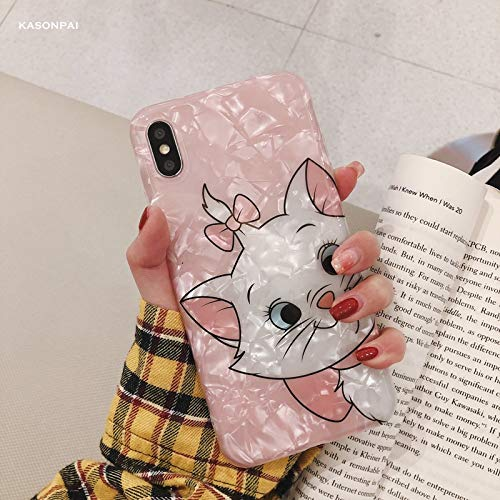 Maxlight Cute Pink Marie Cat Conch Shell Phone Case for iPhone 8 Case for iPhone Xs MAX XR X 7 8 Plus Back Cover Lovely Funny Case (Style2, for iPhone 8)