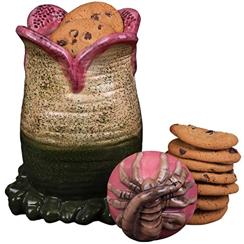 "SCS Direct Aliens Ceramic Cookie Jar - Xenomorph Alien Egg with Facehugger Lid - 9.5"" x 5.5"""