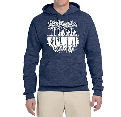Upside Down Bike Silhouette | White | Mens Pop Culture Hooded Sweatshirt Graphic Hoodie, Vintage Heather Navy, Small