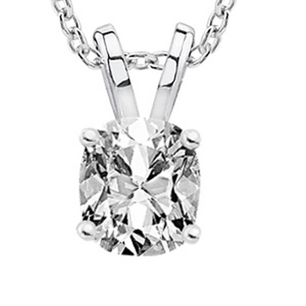 0.57 Carat 14K White Gold Cushion Diamond Solitaire Pendant Necklace H Color VS1 Clarity