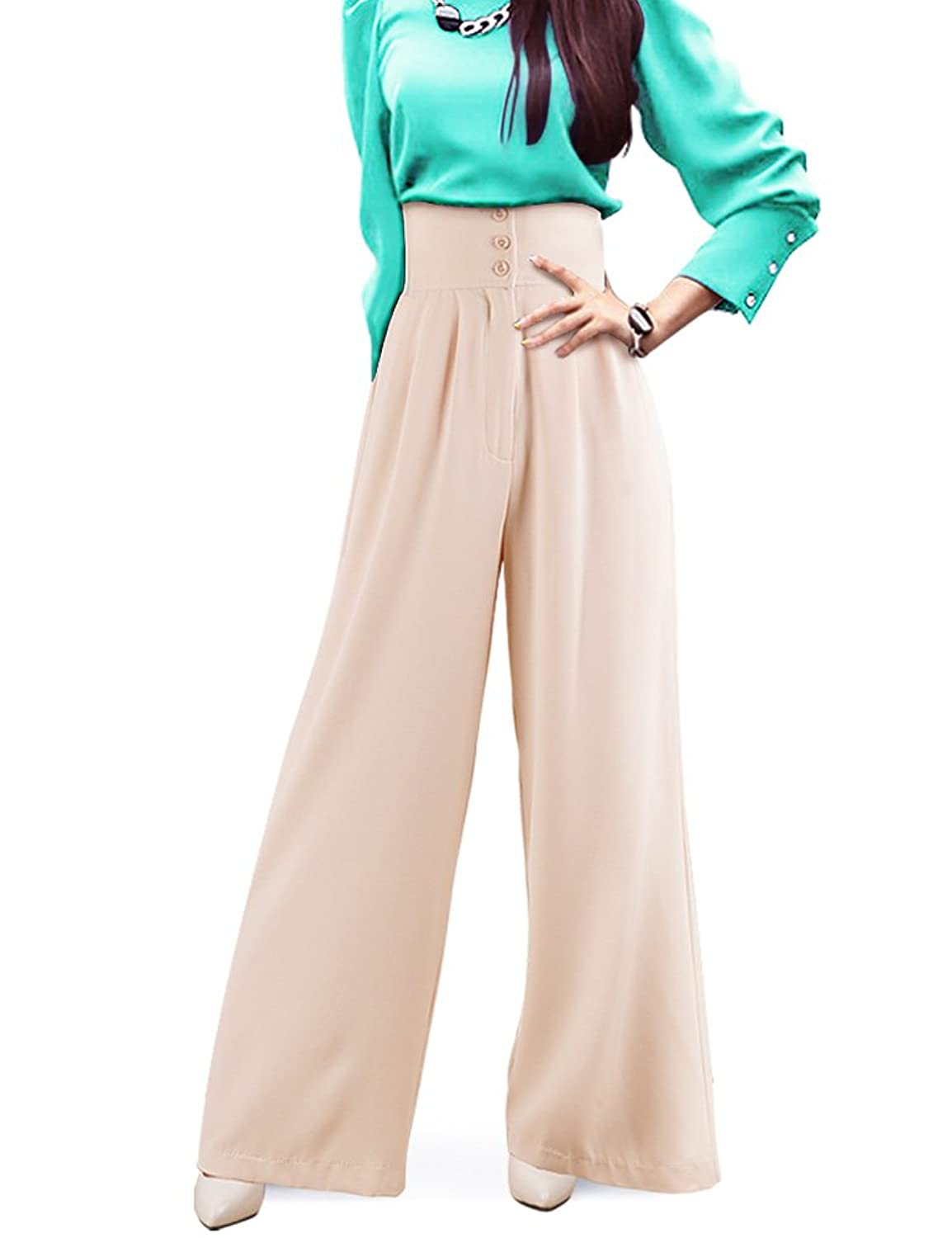 1930s Women's Pants and Beach Pajamas DELUXSEY Womens Silhouette-Lengthening High Waisted Wide Leg Pants with Ribbon  AT vintagedancer.com