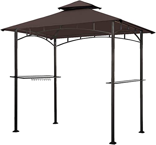 Eurmax 5×8 Grill Gazebo Shelter for Patio and Outdoor Backyard BBQ s, Double Tier Soft Top Canopy and Steel Frame with Bar Counters, Bonus LED Light X2 Brown