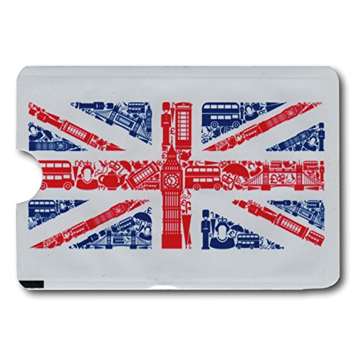 EPOSGEAR Union Jack Design Card Minder RFID Blocking Anti Theft Secure Protector Sleeve Holder Wallet for Credit / Debit / ID / Oyster Cards - Prevent Fraud, Theft, Accidental and Clash Payments (Payment Card)