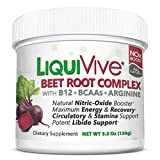 LiquiVive Beet Root Juice Powder - Nitric Oxide Booster Supplement | Super Charged with BCAA Amino Acids, Vitamin B12 & L-Arginine | N.O. Amino Energy Drink Mix for Endurance, Libido & Circulation