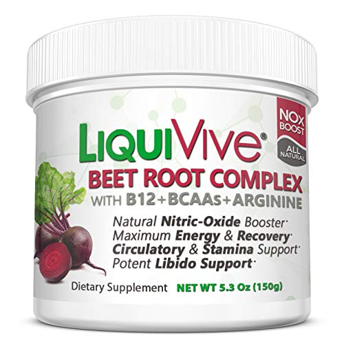 LiquiVive Beet Root Juice Powder - Nitric Oxide Booster Supplement | Super Charged with BCAA Amino Acids, Vitamin B12 & L-Arginine | Non-GMO N.O. Amino Energy Drink Mix for Endurance - Star Texas Kitchen Canister