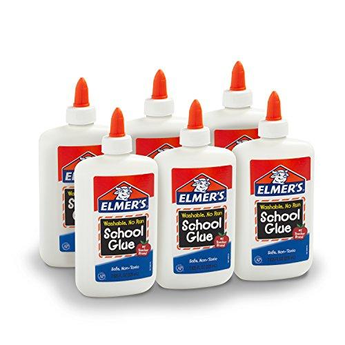 Elmer's Liquid School Glue, Washable, 7.625 Ounces, 6 Count - Great for Making Slime - E308NR